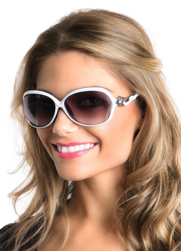 d3d0cb59f Moda pop - Óculos de Sol Feminino Branco - Moda Pop