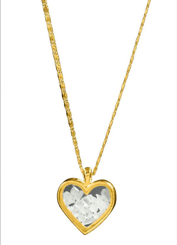 Moda Pop - Gargantilha Dourada com Pingente de Coração - Moda Pop 9b98dc8dbd