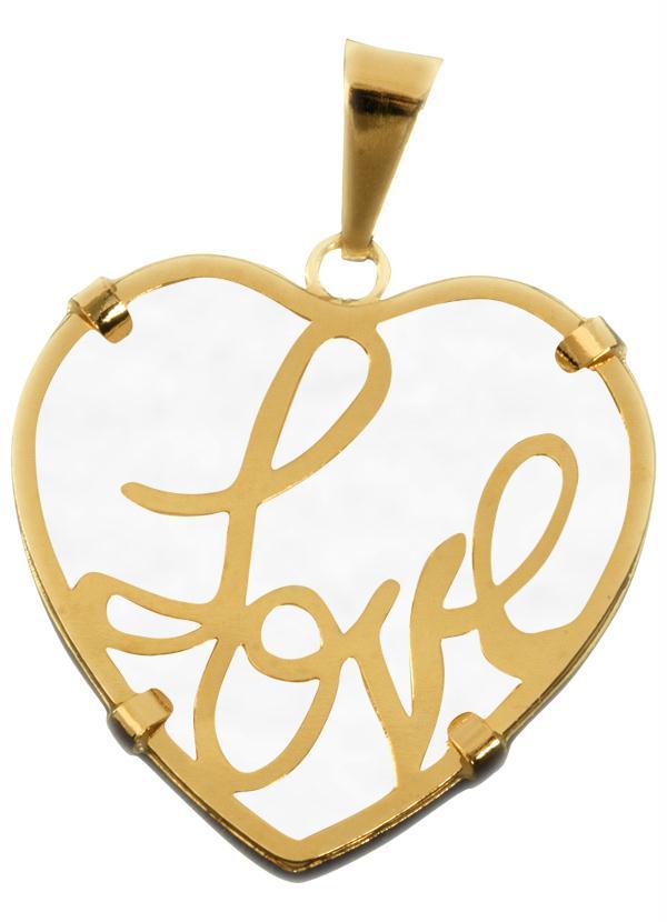 Moda Pop - Pingente Coração Dourado Com Detalhe em Resina - Moda Pop 17380848f9