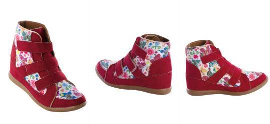 b3cfe0f2e30 Queima Estoque. 0.7632246017456055 Sneaker Infantil Vermelho Estampa de  Borboleta