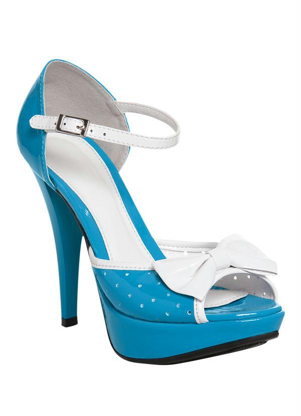 7078425af0 Sandália Azul e Branco com Laço na Tira Superior - Queima de Estoque