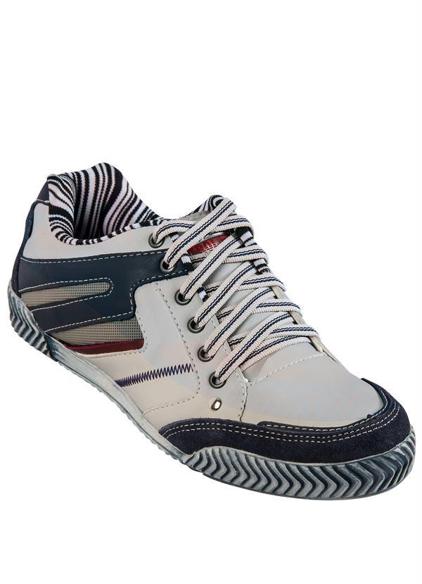 5d922f9e73 Queima estoque - Sapato Masculino Cinza e Azul - Queima de Estoque