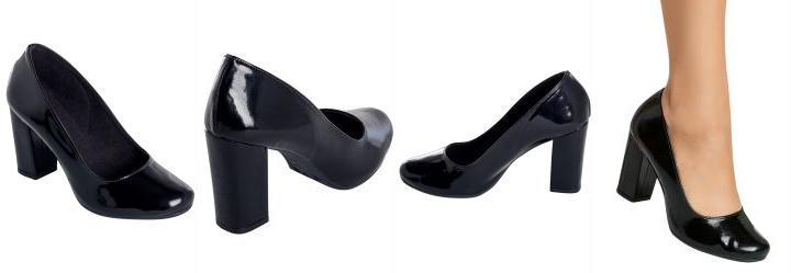 1b1bf8c98e 1.0598798990249634 Sapato Envelhecido Preto de Salto Quadrado