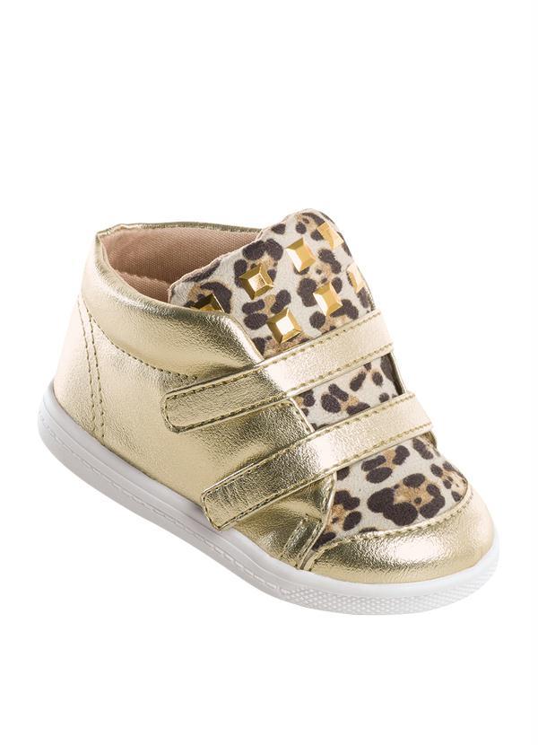 d324bfd300 Perfecta - Sneaker Bebê Molekinha Detalhe de Onça Dourado - Perfecta