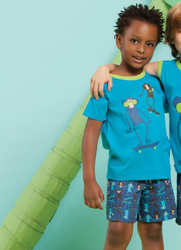 52644e923b27f5 Pijama Infantil Menino (Azul) Puket