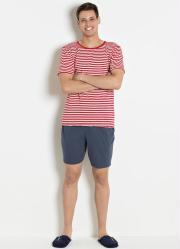 Pijama Masculino Listras Vermelhas