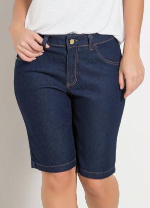 b9a115481 Janine - Bermuda Jeans Cintura Média Azul Escura