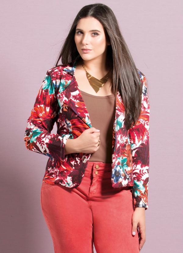 ef48398c64 Quintess - Blazer Clássico Mix Floral Plus Size - Quintess