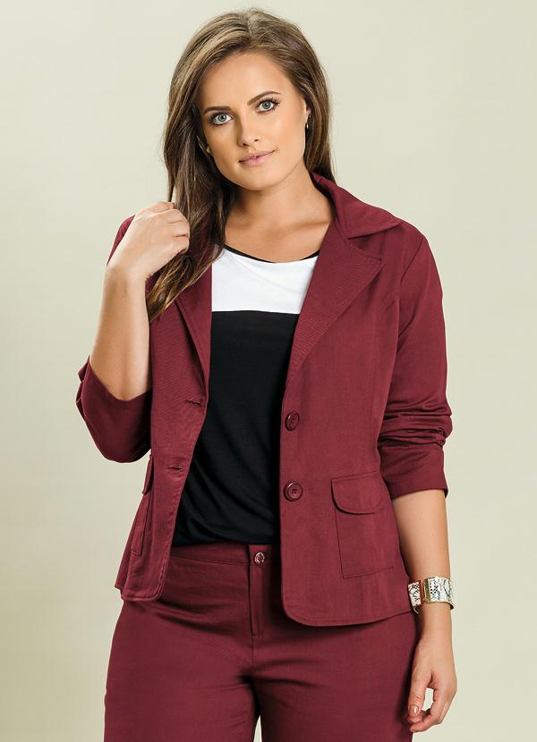 Blazer Social Bordô Plus Size - Quintess 4a22535ca9