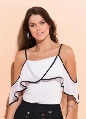 2890bf654f produto Quintess - Blusa Ombro a Ombro com Babado Branca e Preta