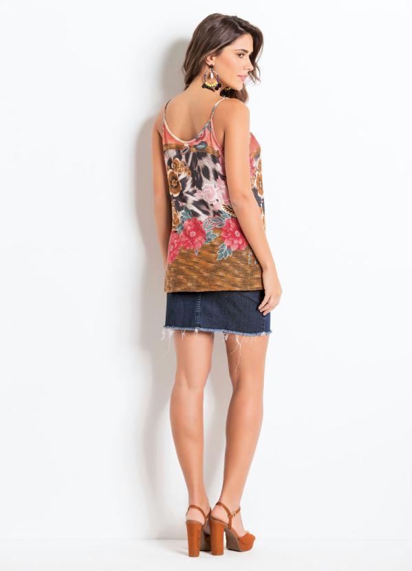 81249d19d Quintess - Blusa de Alça com Prega Floral Vermelha Quintess - Quintess