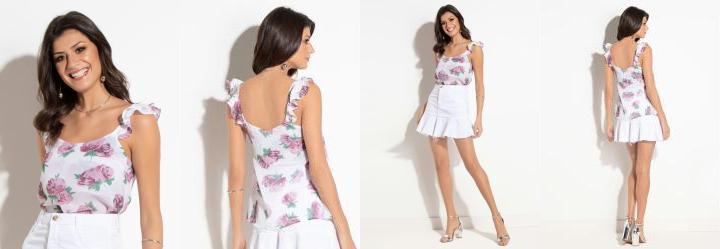0.4572301506996155 Blusa Floral Branca com Babado nas Alças 50d97724927