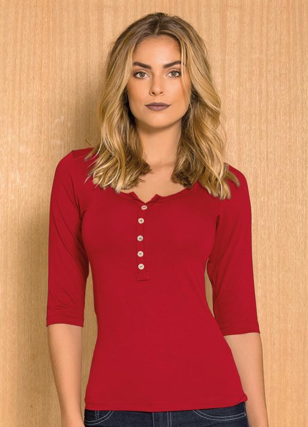 b92ad06bc Quintess - Blusa Básica Mangas 3/4 Vermelha Quintess - Quintess