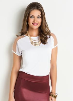 14b80679590 Moda Pop - Blusa Detalhe Tule Branca