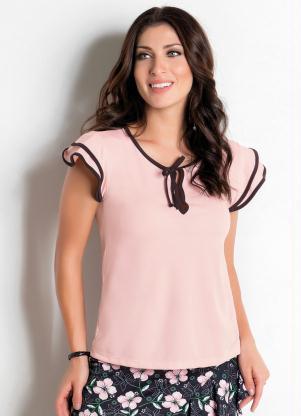 209b23e6 produto Rosalie - Blusa Rosa com Cor Contrastante Moda Evangélica
