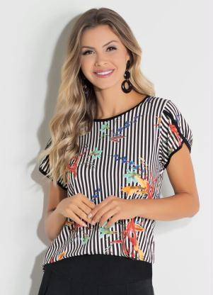 81afda029 produto Quintess - Blusa Floral e Listrada Manga Curta Quintess