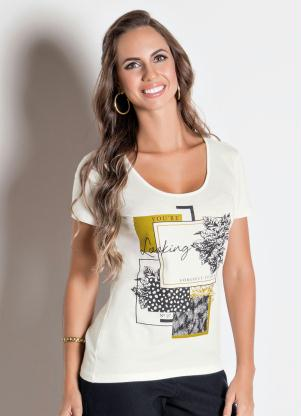 cb11c3cc0e Multimarcas - Blusa Off White Mikalie com Estampa Frontal