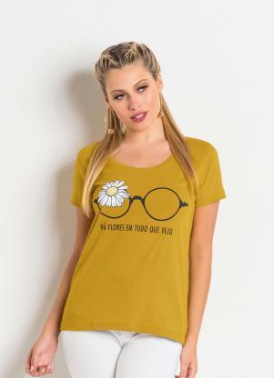 604becb336 BLUSA MANGA CURTA. 1584. produto Queima Estoque - T-Shirt Mostarda com  Estampa Localizada