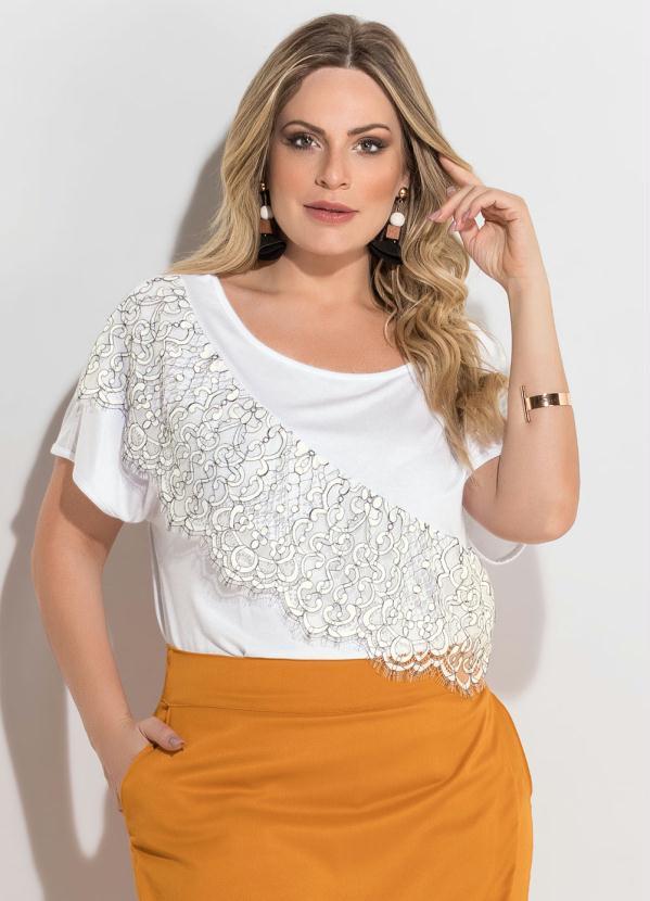 99b25f3dd Quintess - Blusa Branca Detalhe Renda Plus Size Quintess - Quintess