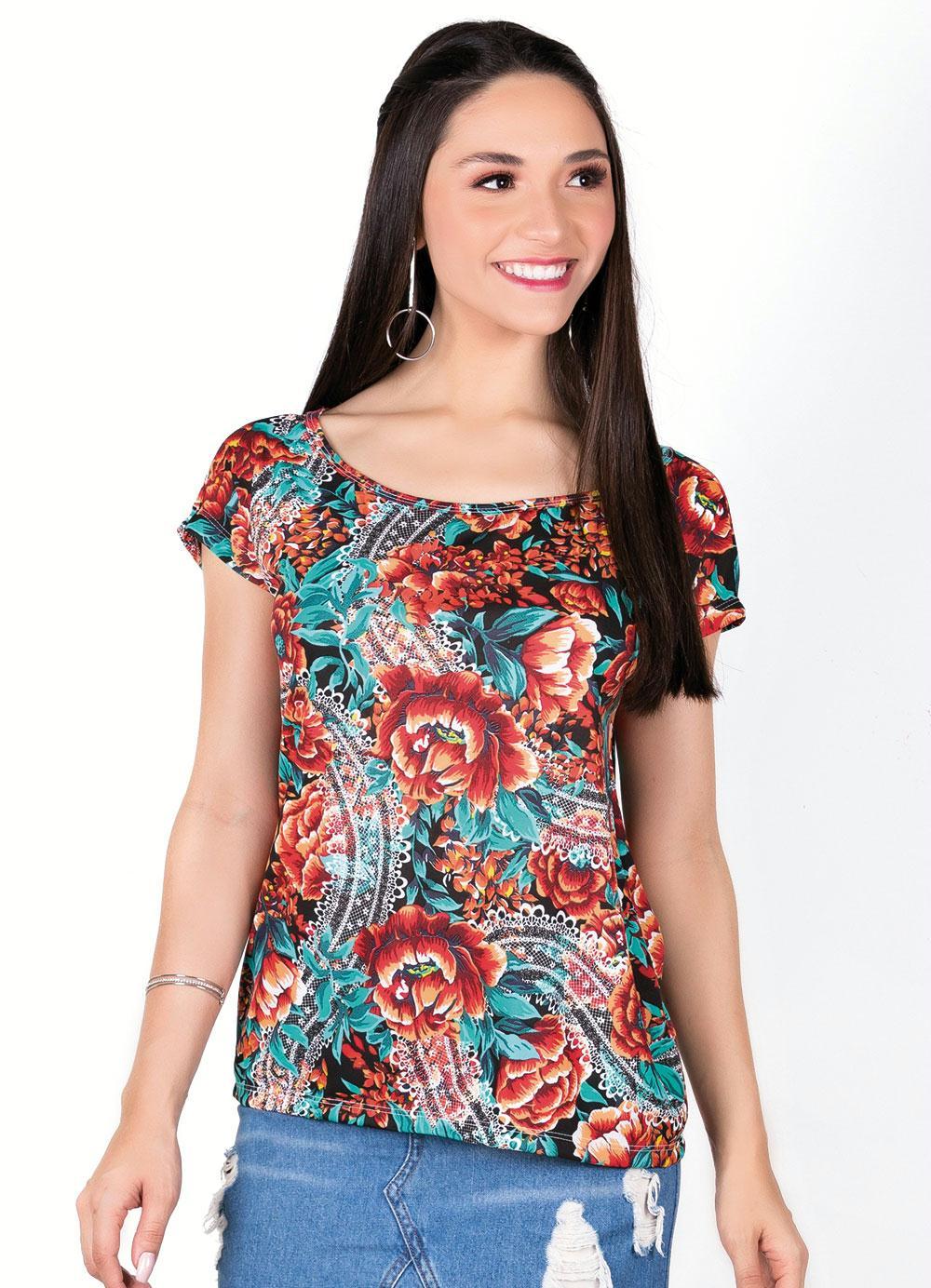 1137a2e694 Blusa Decote Canoa Floral com Detalhe em Gota - Moda Pop