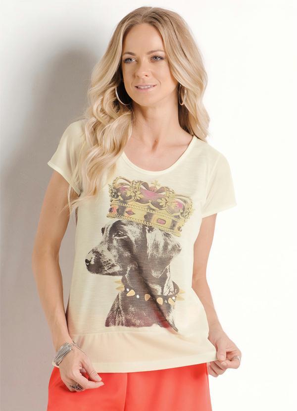 Blusa Estampa Frontal de Cachorro Bege - Queima de Estoque ba19e377dbe