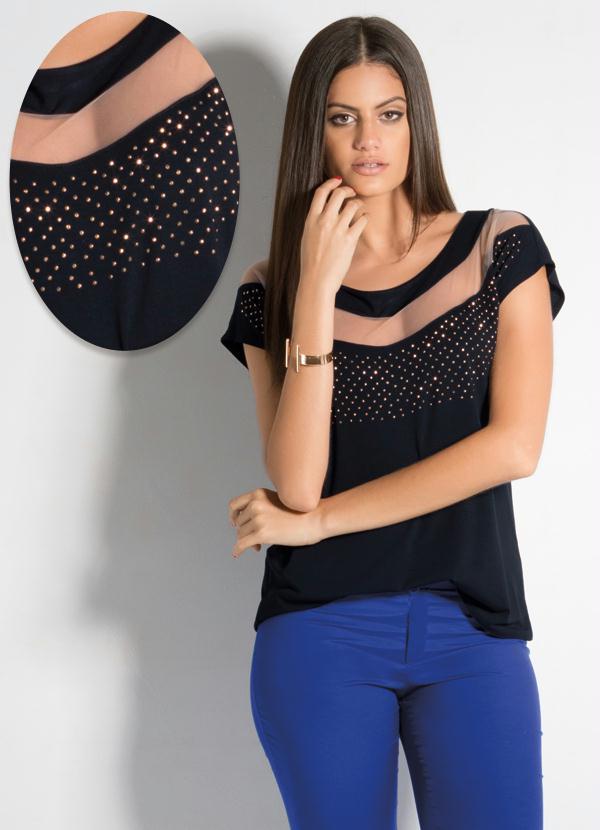 45c40830b Blusa Preta com Faixa Transparente no Decote - Quintess