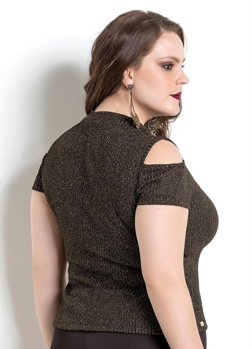 Blusa Preta e Dourada Quintess Plus Size - Quintess Outlet 031f22c0a171a