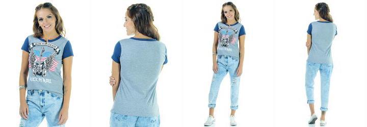 0.3759542405605316 T-Shirt com Recorte no Decote Mescla e Azul 599a19d6c2356