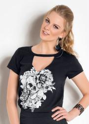 T-Shirt de Gola Choker Preta com Estampa