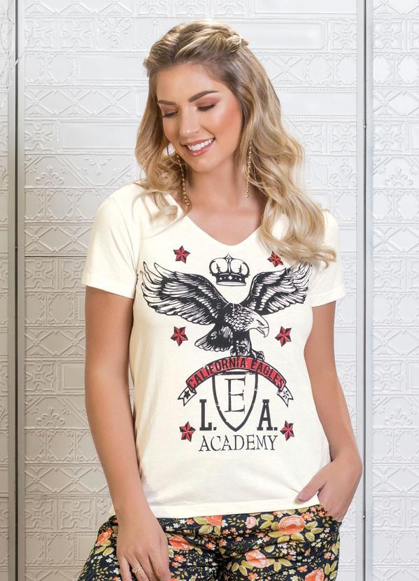 36c63c205 T-Shirt Off White com Estampa Frontal e Decote V - Queima de Estoque