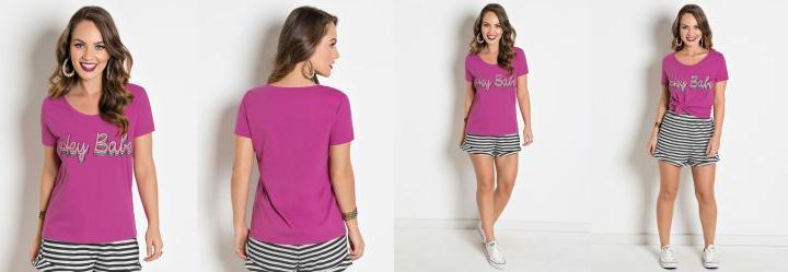 326f1843d 0.2932407259941101 T-Shirt Pink com Estampa na Frente