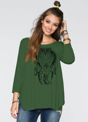 05eaa6def Blusa Ampla com Estampa de Coruja Verde