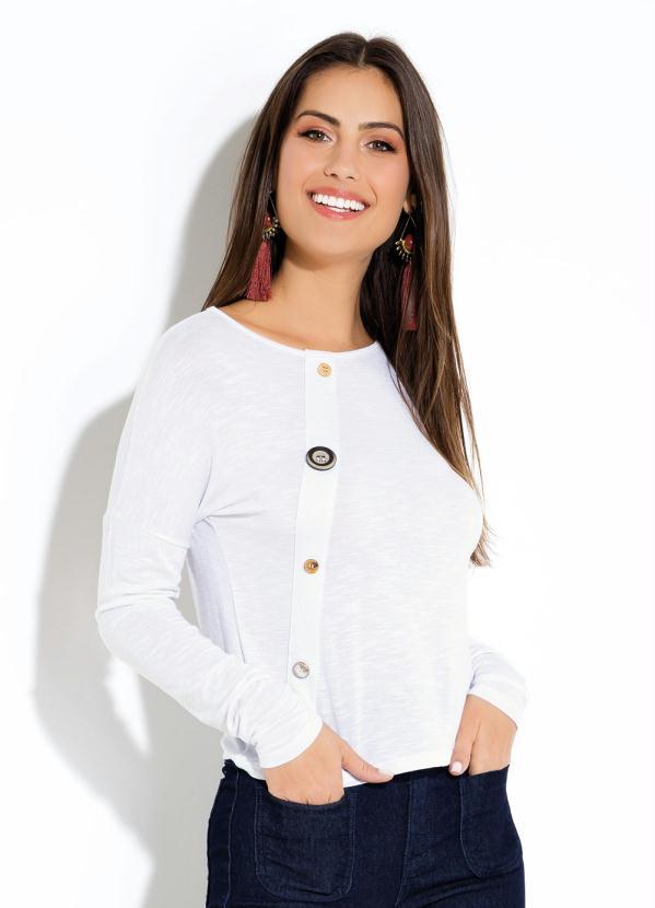 d3b96b86c Quintess - Blusa Flamê Branca com Botões - Quintess