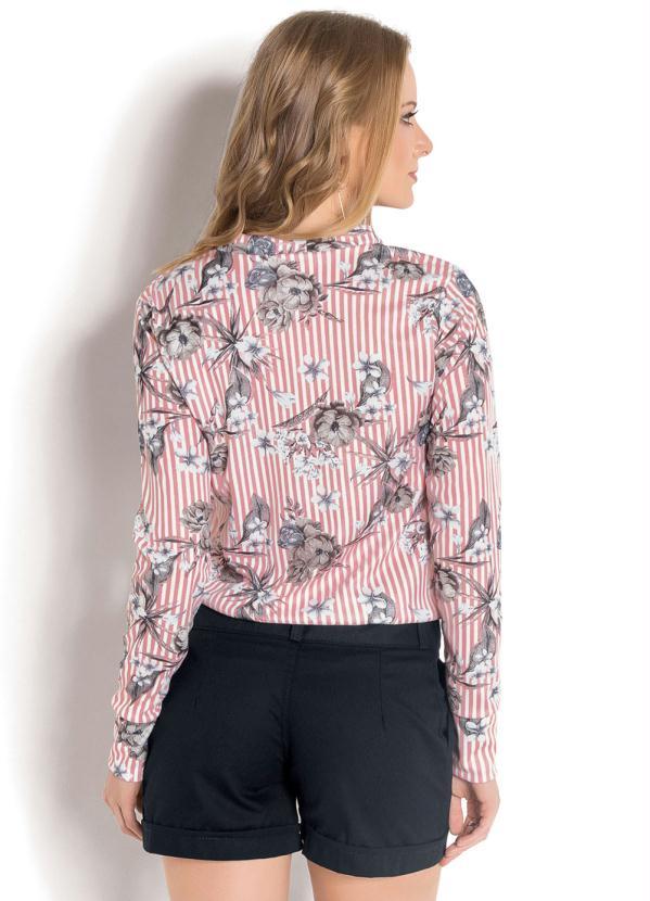 fa6caf24a2 Moda Pop - Blusa Gola Laço Rosa Estampa Listras e Floral - Moda Pop