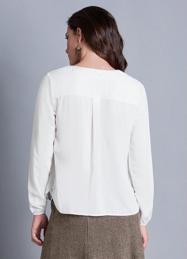 05d2d12ad5 Multimarcas - Blusa Manga Longa Decote V Off White - Multimarcas