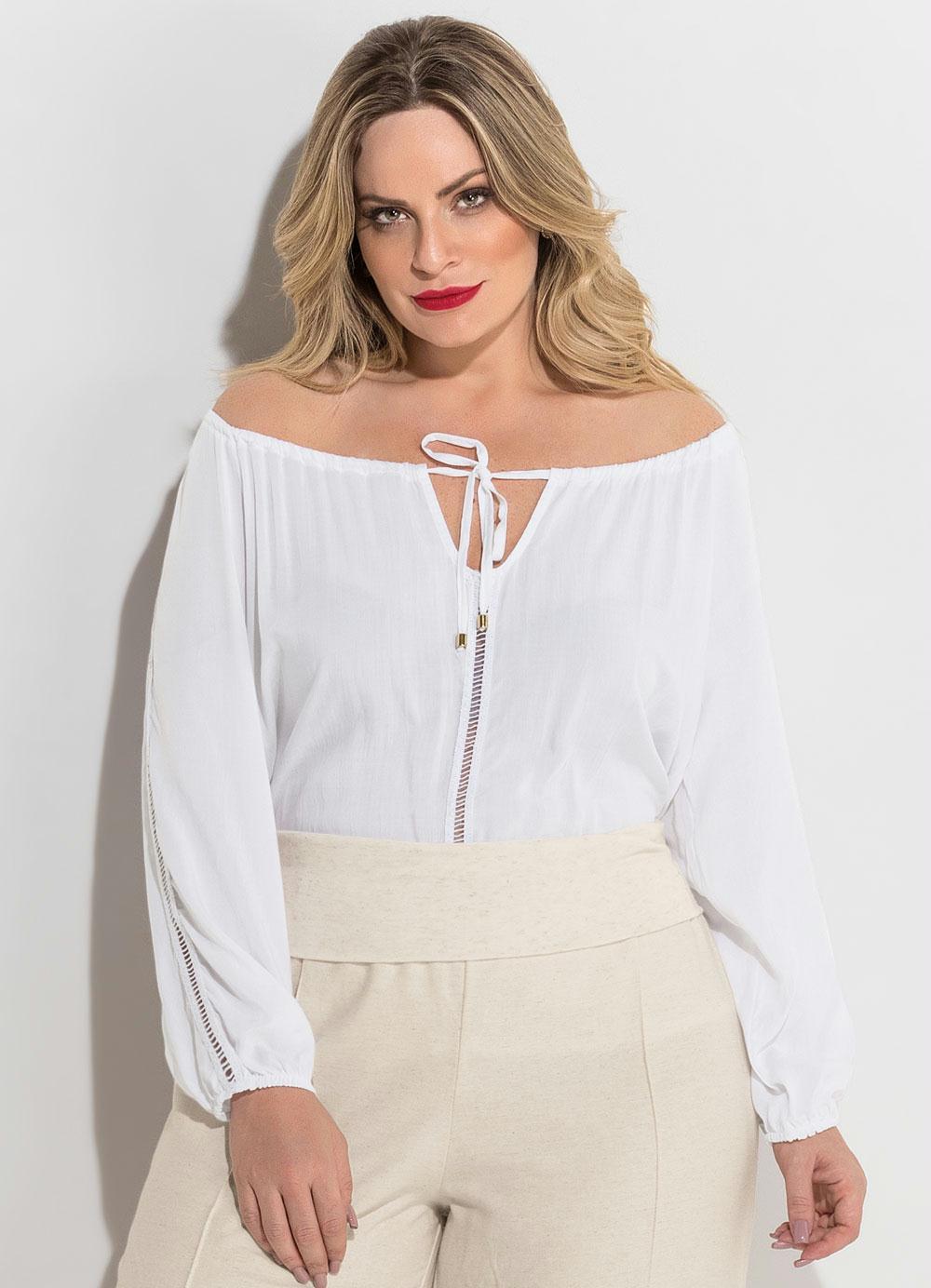 71fbfe081a Blusa Ombro a Ombro Branca Plus Size Quintess - Quintess