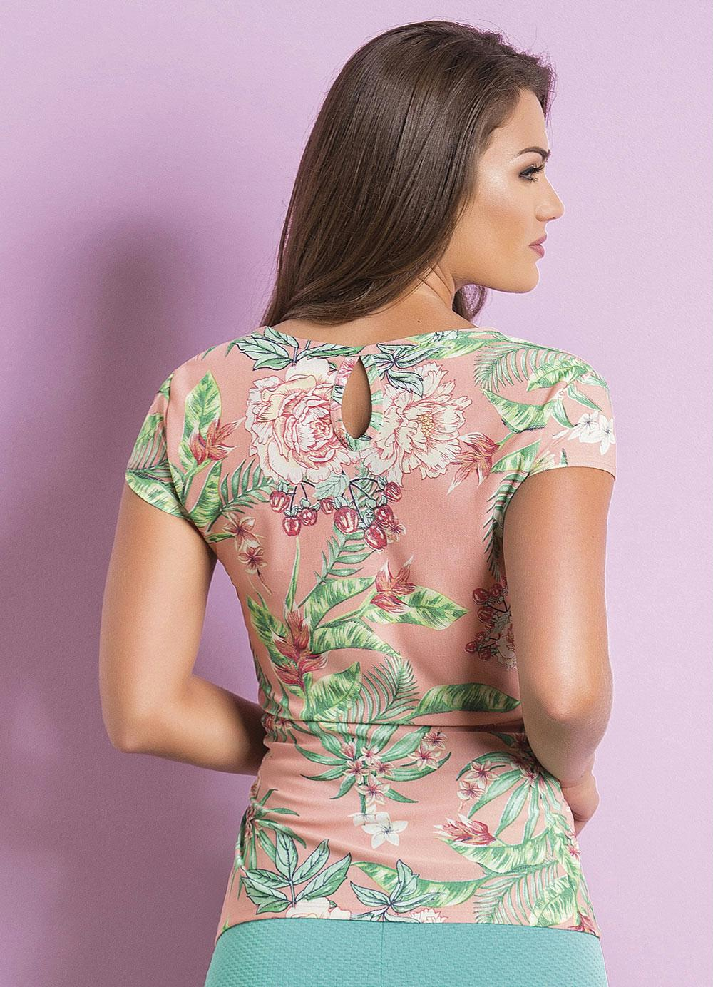 16c3badac Blusa Tropical com Amarração Moda Evangélica - Rosalie