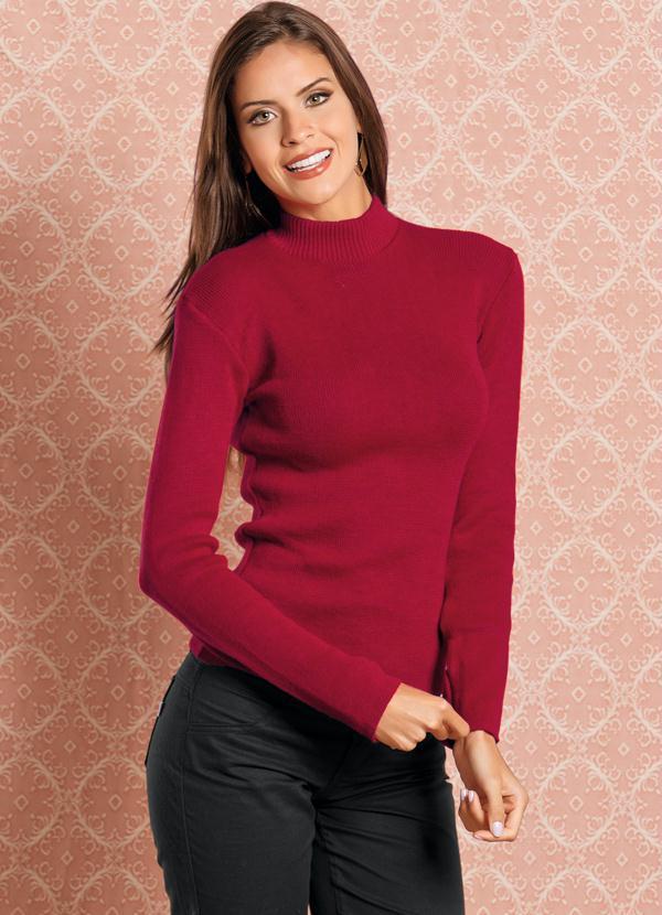 df86423c3 Moda pop - Blusa de Lã Vermelha Manga Longa - Moda Pop