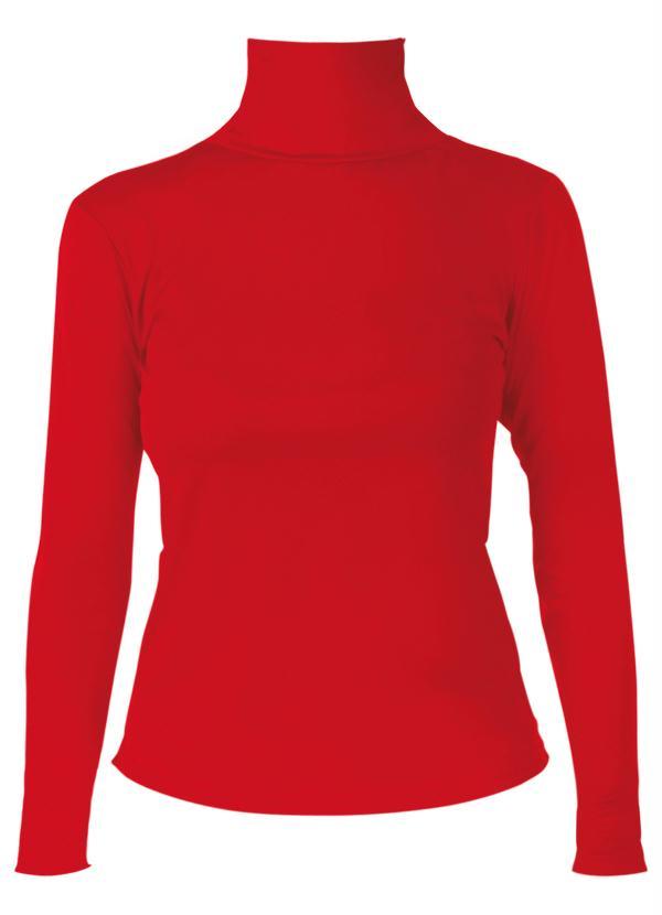 6f037e30a Moda pop - Blusa Vermelha Manga Longa em Helanca - Moda Pop