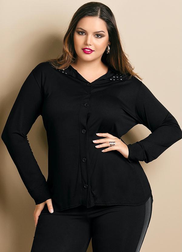 afe426033 Camisa Plus Size com Termocolantes na Gola Preta - Quintess