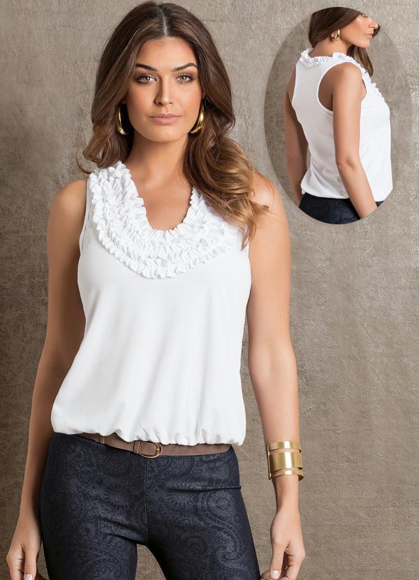 Blusa Feminina Branca com Detalhe em Babados - Queima de Estoque 01dba68c70a47