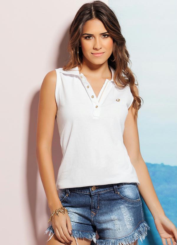 504229e93 Quintess - Camisa Gola Polo Branco - Quintess