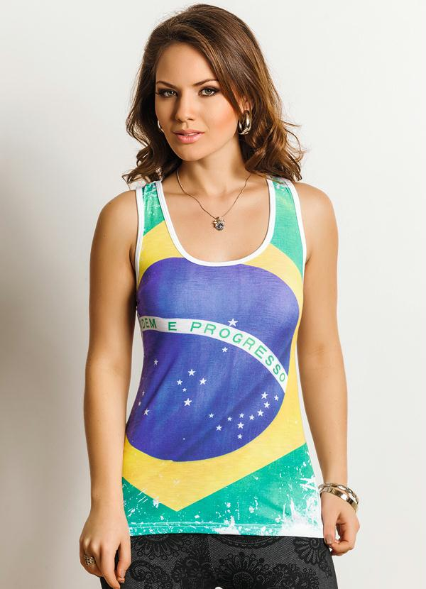 Queima de Estoque - Regata Feminina Estampa Bandeira do Brasil ... 5f514c8f802aa