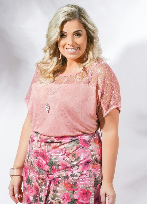 Blusa com Renda Plus Size Rosa - Marguerite 8d954b06d26