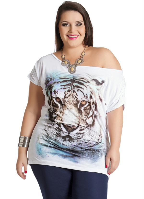 a4ee18d3c Marguerite - Blusa Feminina Plus Size Estampa Animal Print - Marguerite