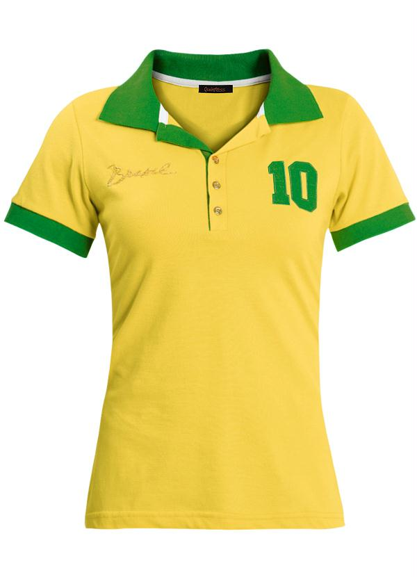 84f54559604a5 Camisa Polo Brasil Amarela e Verde - Quintess
