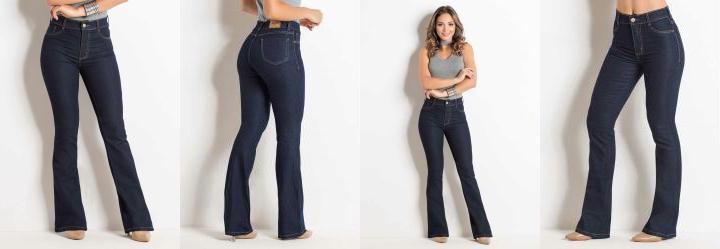 0.38300618529319763 Calça Flare Jeans Escuro Sawary com Bolsos f9b8995a7d8