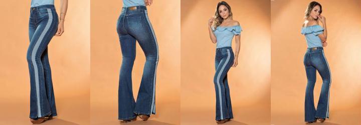6b2e332a8 0.26633211970329285 Calça Flare Sawary com Faixa Lateral Jeans