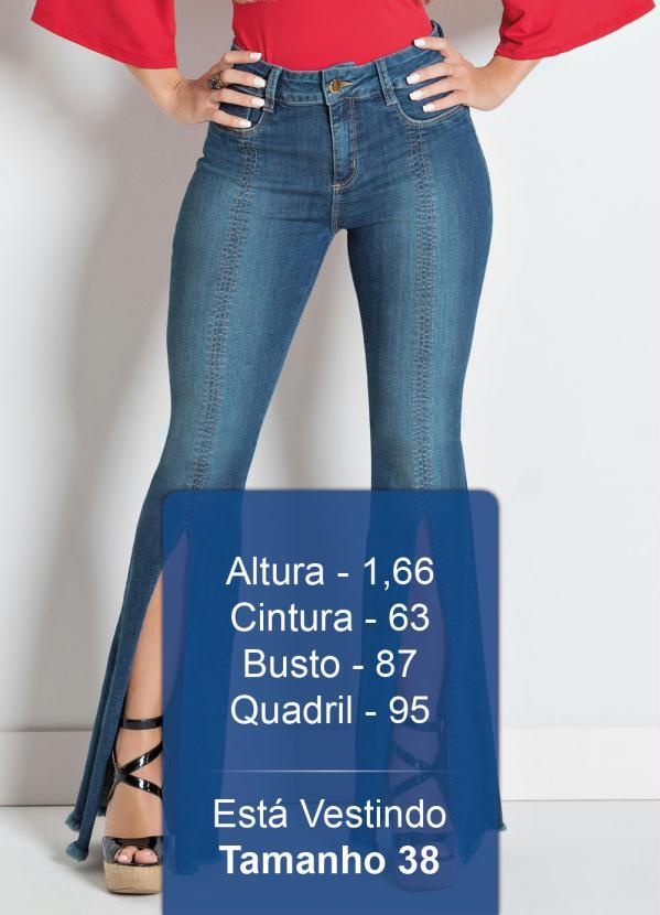 01c528848 Sawary jeans - Calça Sawary Flare com Fenda Frontal Jeans - Sawary Jeans
