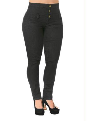 4227ec0b0 Janine - Calça Jeans Escuro Cintura Alta Plus Size